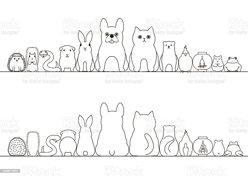 Ilustración de Pet Animals Border Set Front View And Rear View Line ...