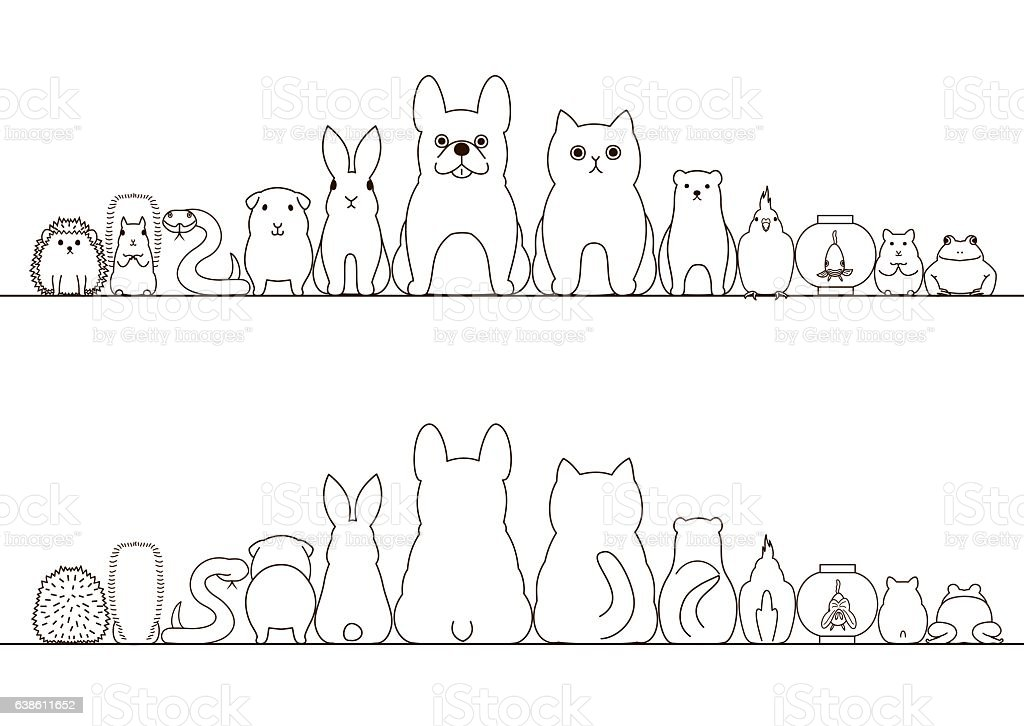 pet animals border set, front view and rear view, line art vector art illustration