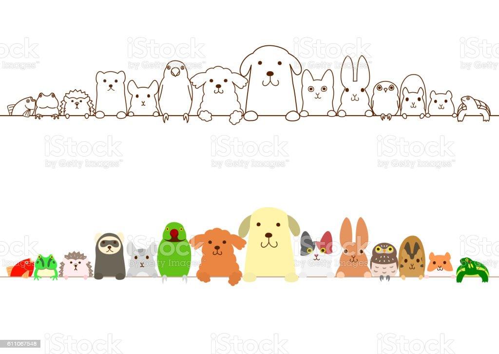 pet animals border set vector art illustration