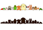 pet animals border with silhouette.