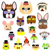 cute hipster pet animals faces set.
