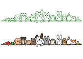 pet animals in a row with copy space.