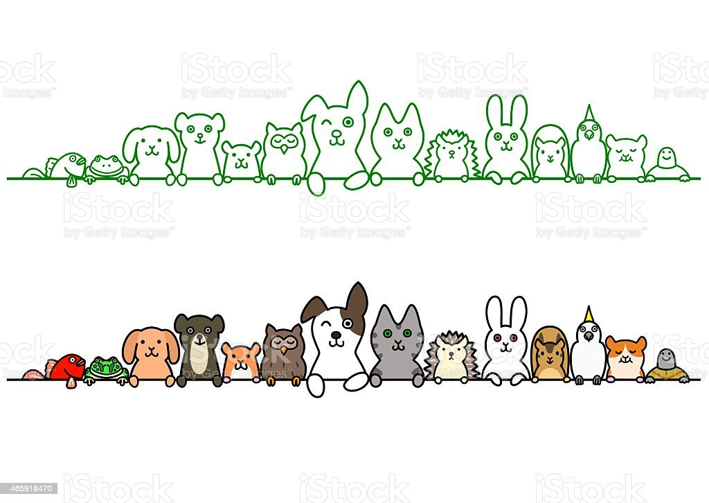 pet animals in a row with copy space vector art illustration