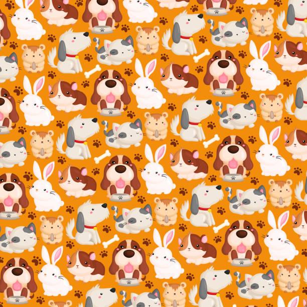 haustier hintergrundmuster - hamsterhaus stock-grafiken, -clipart, -cartoons und -symbole
