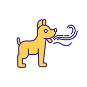 Pet bad breath RGB color icon. Pet care service. Domestic animal treatment. Dog with smelly breathing. Freshener, mouthwash for puppy. Veterinary for animals. Isolated vector illustration