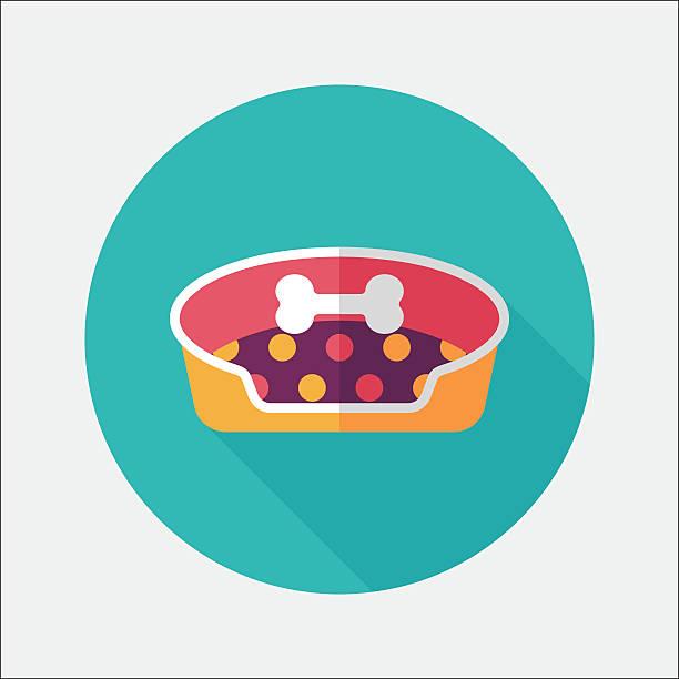 haustierbett flach icon mit langen schatten, eps10 - hundebetten stock-grafiken, -clipart, -cartoons und -symbole