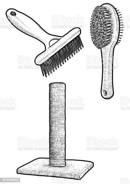 Pet brush and cat scratching post illustration drawing engraving ink vector id875308302?b=1&k=6&m=875308302&s=612x612&h=psph68qczuxghn6phquybrtyg4domm860zhisvsg2aq=