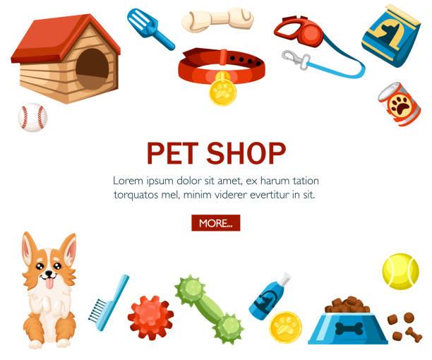 ペットの世話のアクセサリー。ペット ショップ装飾アイコンです。犬のためのアクセサリー。白い背景の平面ベクトル イラスト。ウェブサイトや広告のためのコンセプト デザイン - ペットショップ点のイラスト素材/クリップアート素材/マンガ素材/アイコン素材