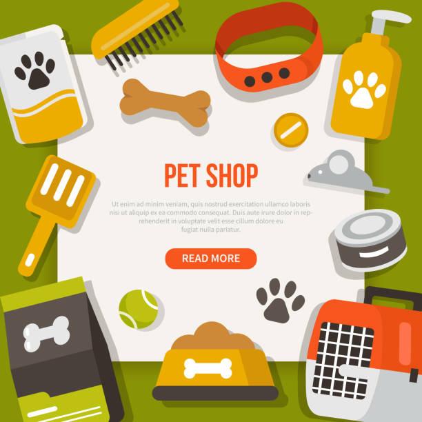 ペットの世話のバナー - ペットショップ点のイラスト素材/クリップアート素材/マンガ素材/アイコン素材