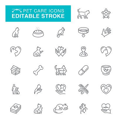 Pet Care Editable Line Icons