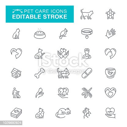 Veterinary, Pets, Animal, Animal Themes, Fish, Turtle, Editable Stroke Icon Set