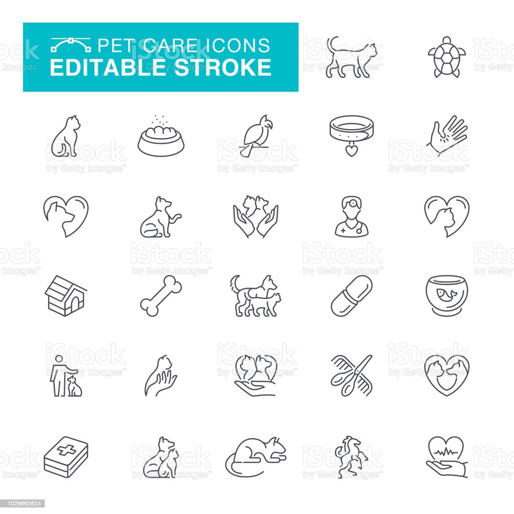 Pet Care Editable Line Icons vector art illustration