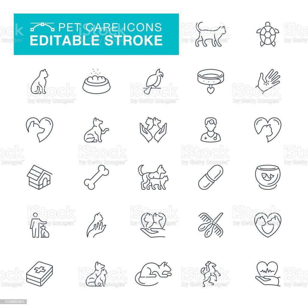 Cuidado de las mascotas línea Editable iconos - ilustración de arte vectorial