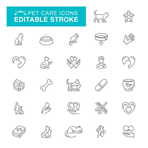 pet care editable line icons - veterinarian stock illustrations, clip art, cartoons, & icons