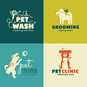 Set of icons for Pet Clinic, Toys, Styling, Wash, Care and Grooming salon. Sign for veterinary service. Symbol with dog and cat. Vector illustration of home animals. Business card or banner design.