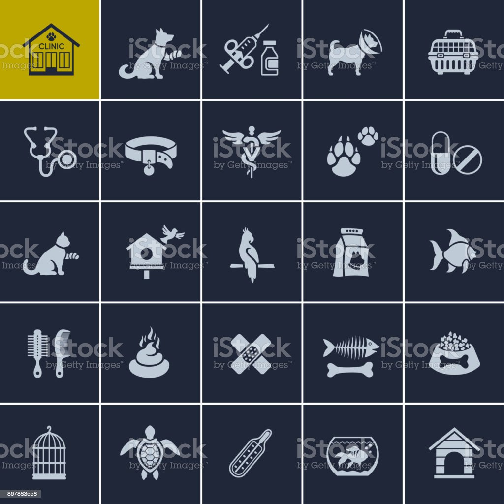 Pet Care Icons vector art illustration