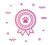 Pet care outline style icon design with decorations and gradient color. Line vector icon illustration for modern infographics, mobile designs and web banners.