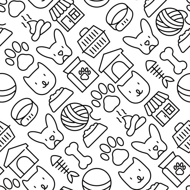 犬、猫、アクセサリー、食品、おもちゃの細いラインアイコンとペットケアシームレスなパターン。獣医クリニック、ペットショップ、避難所用のバナーまたはウェブページ用のベクターイ� - ペットショップ点のイラスト素材/クリップアート素材/マンガ素材/アイコン素材