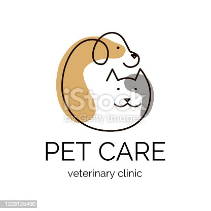 Pet care.Veterinary clinic logo tamplate. Dog and cat design logo. Vector illustration.