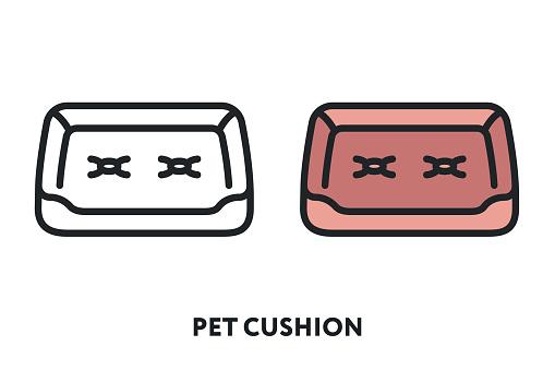 Pet Cat Dog Bed Cushion Pillow Sleep. Vector Flat Line Icon Illustration.