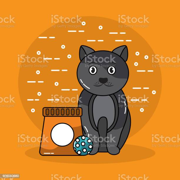Pet cat sitting with bag food and ball toy vector id926040680?b=1&k=6&m=926040680&s=612x612&h=kfvw0 g55r sehsrrjwjcfdumjpo18tyepqi1b5p0xk=