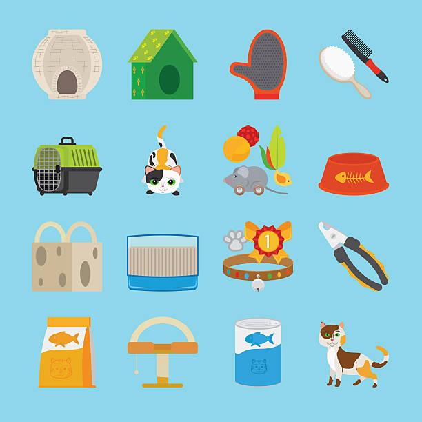 ilustrações de stock, clip art, desenhos animados e ícones de pet cat toys and food icons - lata comida gato