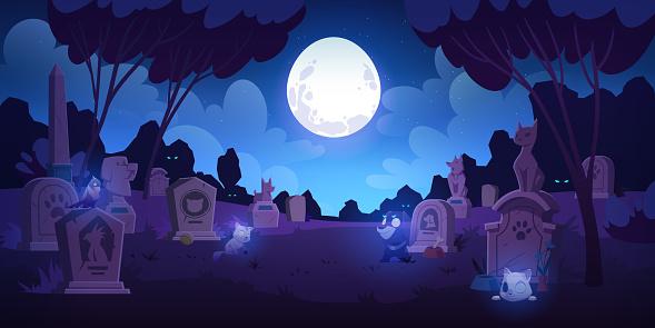 Pet cemetery at night, animal graveyard tombstones