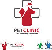 Pet Clinic with Dog, Cat and Bird with Cross Symbol