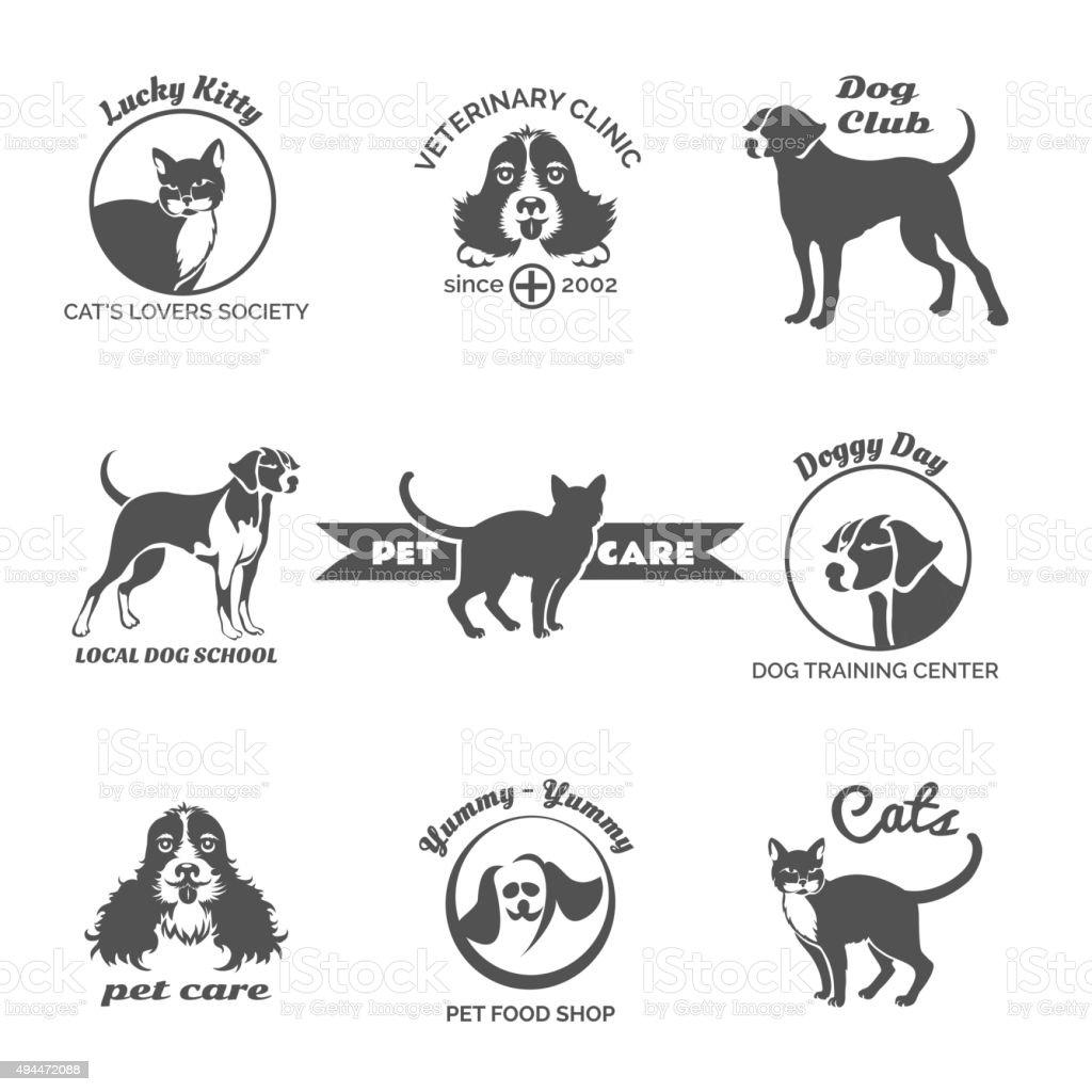Pet club, dog center, veterinary clinic logos, emblems and badges vector art illustration