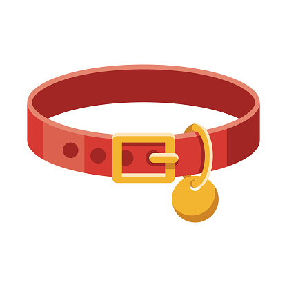 A flat design pet collar icon with long side shadow. File is built in the CMYK color space for optimal printing. Color swatches are global so it's easy to change colors across the document.