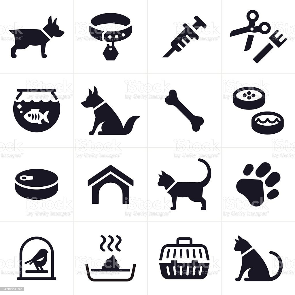 Pet Dog and Cat Icons and Symbols vector art illustration