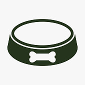 Pet dog bowl vector icon.