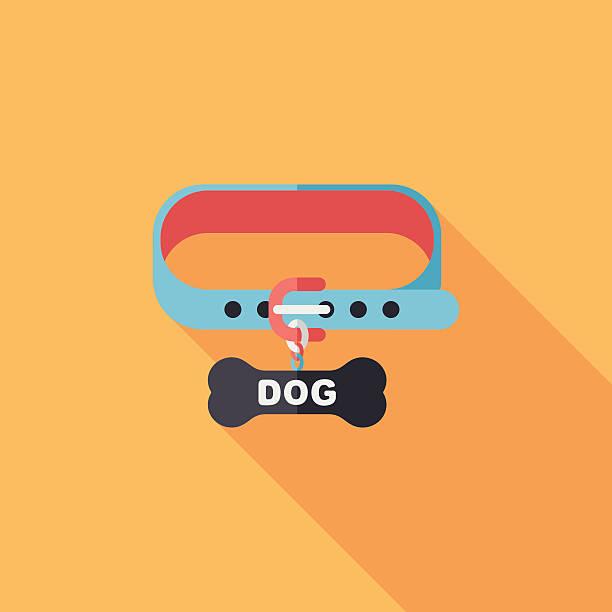 haustier hund ketten flach icon mit langen schatten, eps10 - hundehalsbänder stock-grafiken, -clipart, -cartoons und -symbole