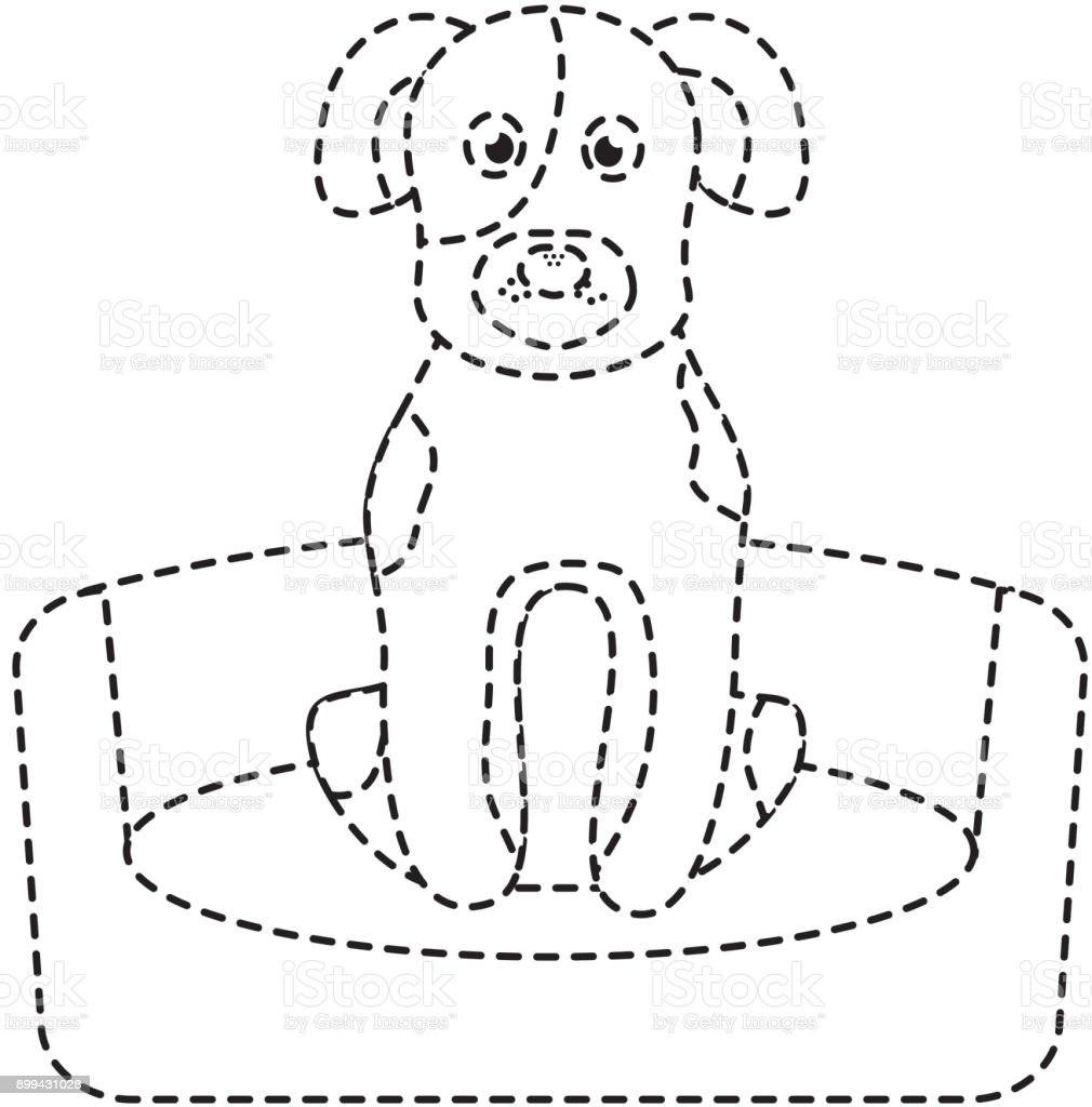 pet dog sitting animal domestic vector art illustration