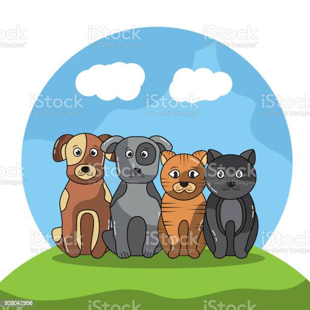 Pet dogs and cats sitting with landscape image vector id926042956?b=1&k=6&m=926042956&s=612x612&h=jvazcwdbsfj 5 v8eypdpx30qu1j5q1wkmdhzk yb8u=