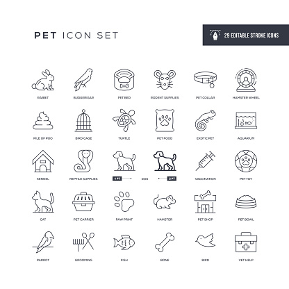 Pet Editable Stroke Line Icons
