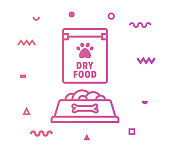 Pet food outline style icon design with decorations and gradient color. Line vector icon illustration for modern infographics, mobile designs and web banners.