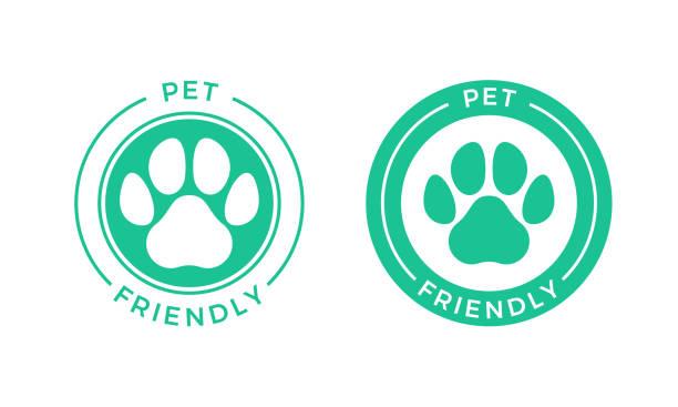 ilustraciones, imágenes clip art, dibujos animados e iconos de stock de icono de logotipo de mascotas para mascotas permitidas signo del hotel. - mascota