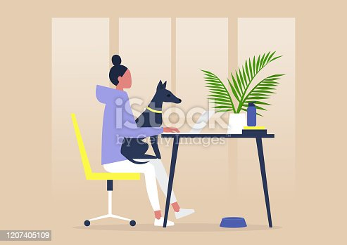 istock Pet friendly office, young female character working with a dog on their lap 1207405109