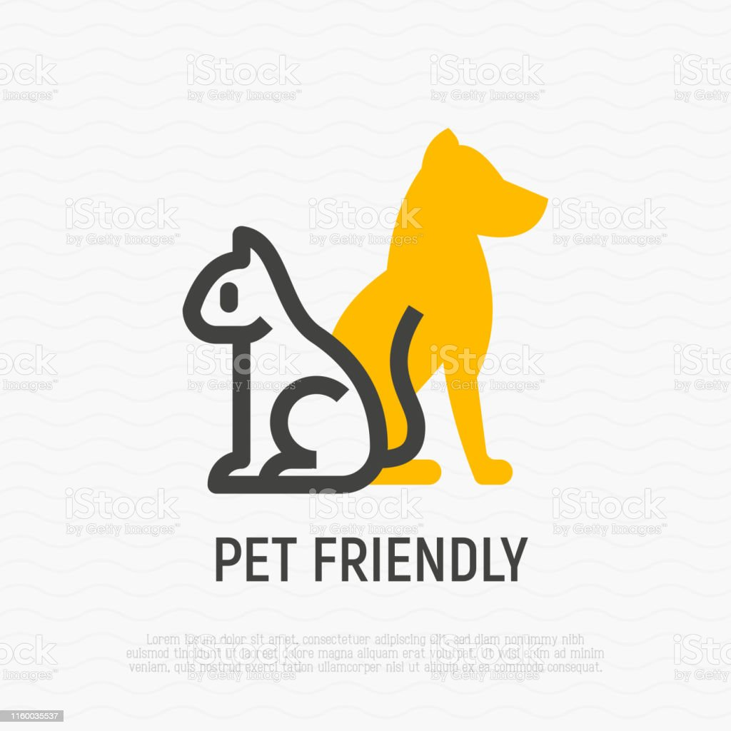 cat and dog silhouettes thin line icon. Modern vector illustration...