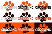 Pet grooming icons with orange and brown paw. Icon set for illustration to provide hairdressing and stylish services for animals. Vector.