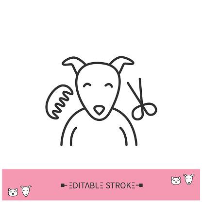 Pet grooming line icon. Editable illustration