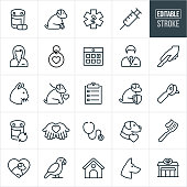 A set of vet or pet healthcare icons with editable strokes or outlines using the EPS file. The icons include vets, dog, cat, parrot, pets, animals, medication, immunization, dog tag, pet insurance, calendar, surgery, checklist, dental care, pet shop and other related pet care icons.