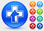 Pet Health Icon on Shiny Color Circle Buttons. The icon is positioned on a large blue round button. The button is shiny and has a slight glow and shadow. There are 8 alternate color smaller buttons on the right side of the image. These buttons feature the same vector icon as the large button. The colors include orange, red, purple, maroon, green, and indigo variations.