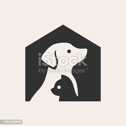 istock pet house dog cat hipster vintage vector icon illustration 1254166555