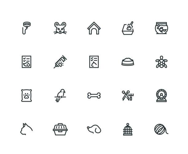 ilustrações de stock, clip art, desenhos animados e ícones de pet icon set - thick line series - dog food