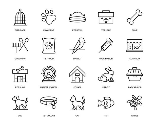 pet icon set - pets and animals stock illustrations