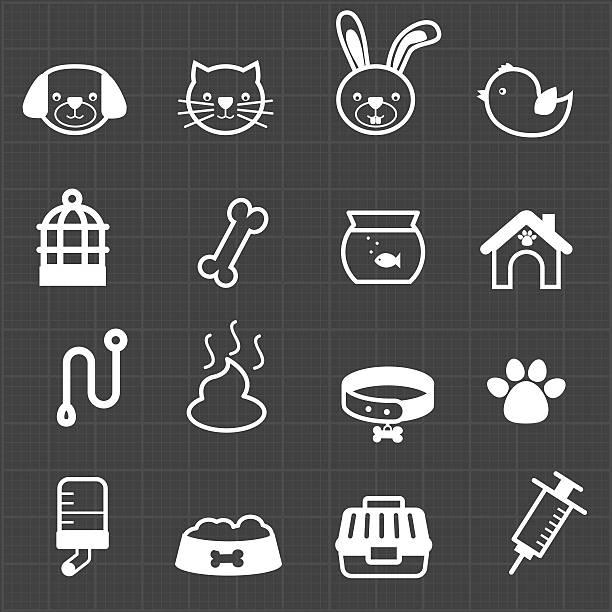 haustier symbole und schwarzem hintergrund - hamsterhaus stock-grafiken, -clipart, -cartoons und -symbole