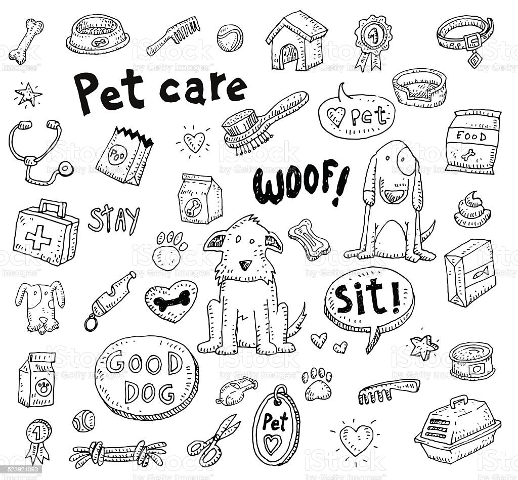 Pet icons doodle set, vector illustration. vector art illustration