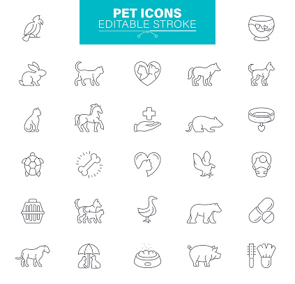Pet Icons, Editable stroke. Contains such icons as Bunny, Dog, Turtle, Cow, Cat, and Mouse
